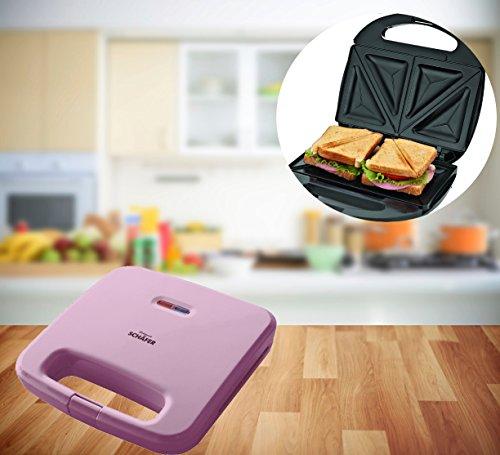 FRX Praktischer Sandwich Maker 750W Toaster Sandwichtoaster Panini Maker Doppel Kontakt Toaster antihaftbeschichtet (Pink)