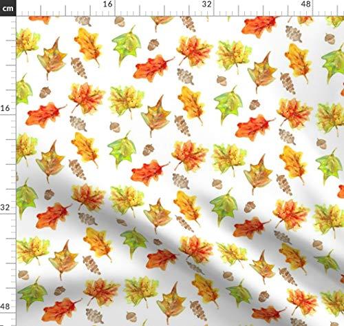 Blätter, Eicheln, Herbst, Wasserfarben, Kienapfel, Thanksgiving Stoffe - Individuell Bedruckt von Spoonflower - Design von Erinanne Gedruckt auf Bio Musselin