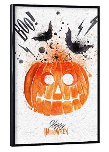 schwarzem Rahmen 30x20 cm Festivals Pumpkin Halloween - Bild Halloween Pumpkin Dark ()