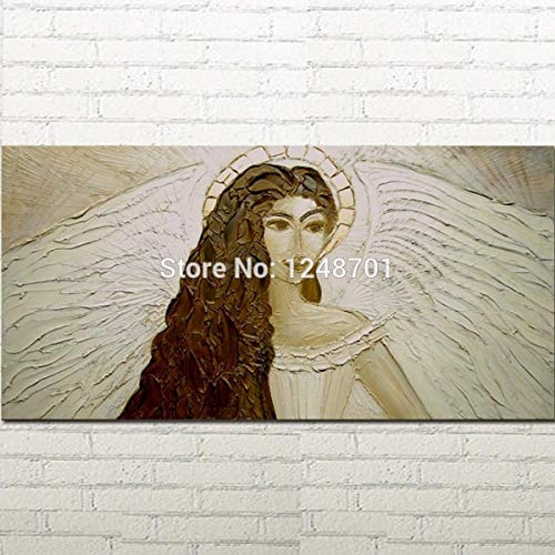 ZXCVB Handgemaltes Ölgemäldeabstract Illustration Girl Acrylic Oil Painting White Angel Wings Texture Home Decor Canvas,60X120Cm