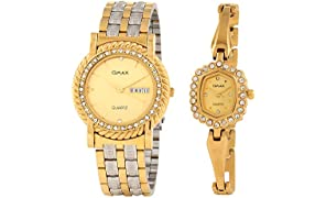 Omax Latest Golden Dial Pair Watch for Family Love Once Friends with Classy Look