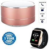 Captcha Lenovo Vibe P1 Turbo Compatible Certified P10 Wireless 3W Super Bass Mini Metal Aluminium Alloy Portable Bluetooth Speaker With Mic With GT08 Bluetooth Smart Watch With Camera & SIM Card Slot (One Year Warranty)