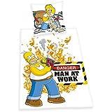 Herding 440821050 Bettwäsche Simpsons , Kopfkissenbezug 80 x 80 cm und Bettbezug 135 x 200 cm, 100 % Baumwolle, Renforce