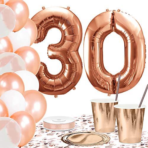 DekoGuru® Partyset in rosé Gold - für 18 Personen (30. Geburtstag) (Geburtstag 30. Teller Servietten Und)