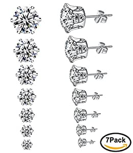 6 Pairs of Round Cubic Zircon Stud Earrings 925 Sterling Silver Nails 3mm 4mm 5mm 6mm 7mm 8mm Elegant Earrings T9aQNL8W