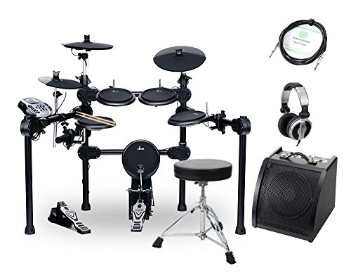 XDrum DD-520 SET 2 E-Drum Set (elektronisches Schlagzeug mit Aktiv-Monitor, Hocker, Kopfhörer, Kabel, Sticks & Fußmaschine, 458 Sounds, USB) schwarz