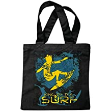 "Tasche Umhängetasche ""KING OF THE SURF SURFEN BEACH SURFBRETT LONGBOARD WELLENREITEN WELLEN ANFÄNGER SHOP"" Einkaufstasche Schulbeutel Turnbeutel in Schwarz"