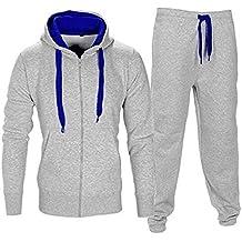 Socks Uwear–Tuta Contrasto Set Completo Maniche con Cappuccio e Cerniera, in Pile Pantaloni da Jogging Jogger Palestra Scuola Abbigliamento