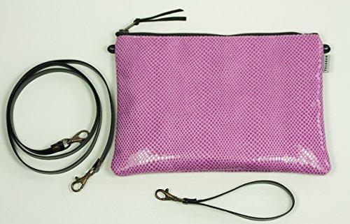 Rosa Lackleder Tasche. Kleine Umhängetasche. Brieftasche. Schwarz / weiß-Clutch. Tasche zu überqueren. Tasche von Fiesta. Retro-Stil Tasche. Handgelenkstasche