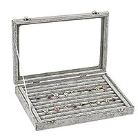 Ivos Velvet Glass Jewellery Ring Display Organiser Box Tray Holder Jewellery Earrings Storage Case