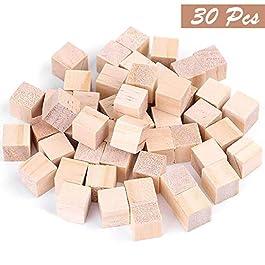Confezione 30 Cubi Legno Grezzo Naturale di Pino da Kurtzy- Set Piccoli Blocchetti Cubo 3 x 3 cm-Perfetti per Stampi, Artigianato, Stencil, Alfabeto, Progetti Numeri e Fai da Te