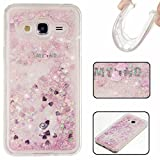 KSHOP Samsung Galaxy J32016 Silicone Case 3D Creative Luxury Bling Glitter Liquid Case TPU Silicone Heart Moving Soft TPU Bumper Back Hybrid Shockproof Protection Case Cover scratch shock - Pink
