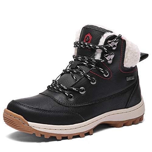 SIXSPACE Damen Winterstiefel Warm Gefütterte Winterschuhe Outdoor Schneestiefel Wanderschuhe Rutschfeste Arbeitsschuhe Winter Boots(Schwarz, 38 EU)