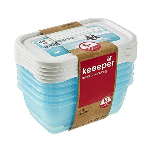 keeeper MIA Polar Botes para Alimentos, PP, Ice Blue (Transparent), 5X 500 ml 5 Unidades