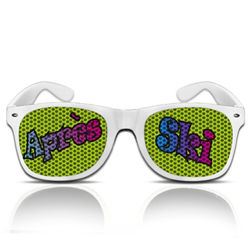 Après Ski Partybrille beklebte Sonnenbrille Spassbrille bedruckte Nerdbrille Funbrille mygafas (NERD weiß)