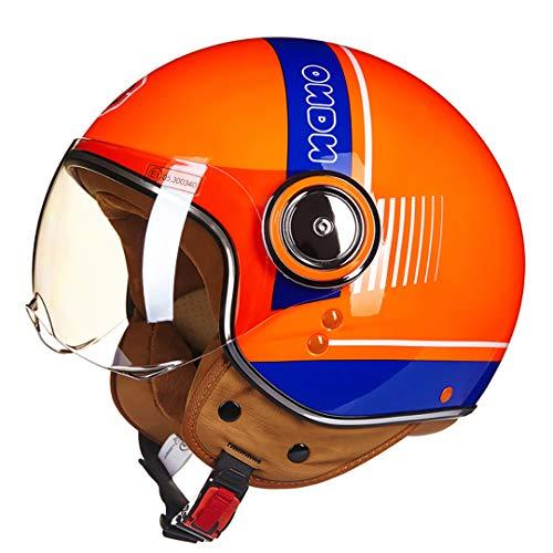 Preisvergleich Produktbild Chopper 3 / 4 Open Face Vintage Helm Moto Männer Frauen Roller Motorrad Helm 110B LOrange-Blue L