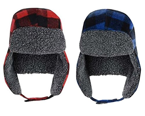 Mens Trapper Red Check Hats Winter warm Russian Ski Hat Style New