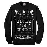 Maglione sgradevole da uomo, divertente, con stampa natalizia e scritta 'Winter is Coming', ispirato a 'Il trono di Spade', a manica lunga Black S