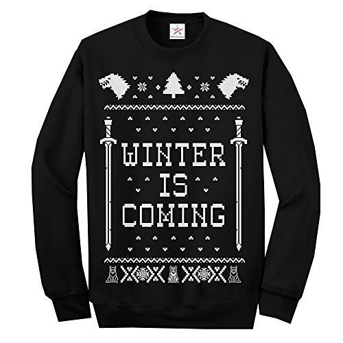 Jersey navideño con texto en inglés «Winter is coming» de manga larga, para adultos negro negro S