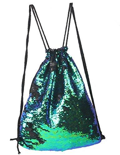 Glitter reversibile Mermadi Sequin coulisse zaino Fashion Bling Shining sport palestra sacca con coulisse zaino, Rose+Silver, Taglia unica Green+Black