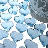 EinsSein 30x Dekosteine Funkelnde Herzen 22mm hellblau Dekoration Streudeko Konfetti Tischdeko Hochzeit Hochzeit Konfetti Diamanten Diamant Glas groß