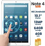 Discover Note 4 Plus, Quad Core, Dual Sim, Dual Camera,Tablet 10.1 Inch, Android 4.4.2, 64GB, 4GB DDR3, 4G LTE, Wi-Fi, (Red)