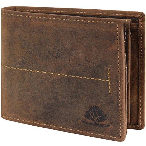 Greenburry Vintage Geldbörse Querformat Leder 12 cm mit Klappfach - brown