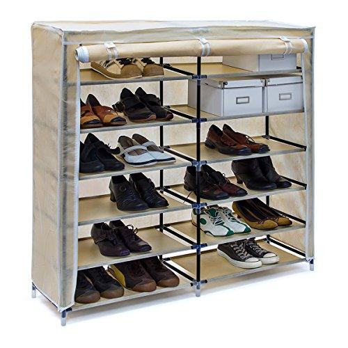 Relaxdays Schuhschrank VALENTIN breit HxBxT: 108,5 x 114 x 30,5 cm Schuhregal mit 7 Ablagen für 36 Paar Schuhe aus Vlies mit Stoffbezug Stoffregal für staubfreie Lagerung dank Reißverschluss, beige