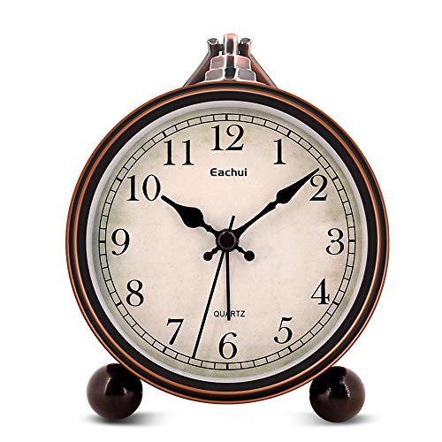 Eachui Retro Desk Shelf Clock, Antique Table Clock with Snooze & Face Light Button, Rising Alarm, No Ticking, Noiseless, Battery Operated