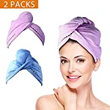 2 Pack Hair Towel Wrap Turban Microfiber Drying Bath Shower Head Towel with Buttons, Quick Magic Dryer, Dry Hair Hat, Wrapped Bath CapBy Duomishu