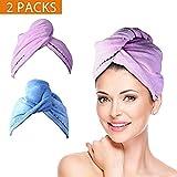 Wrap Turban Haartrockentuch, Handtuch Kopftuch Haartrockentuch Handtücher Haarpunzel Haar trocknendes Tuch Schnelltrocknend saugfähig Baumwolle 2 pcs - (Lila & Blau)