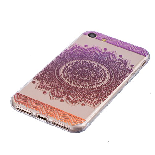Cover iPhone 7, CXTcase Custodia Soft TPU Silicone Gel Flessibile Sottile Bumper Ultra Slim Trasparente Crystal Cover per Apple iPhone 7 Case Indiana Girasole Nero Mandala Viola