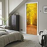 TIANTAI Nachahmung 3D Herbst Laub Landschaft Tür Aufkleber Holztür Wandaufkleber Wasserdicht Selbstklebend