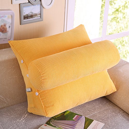 Creative Light-Kissen Bett Kissen Büro Sofa Kissen Dreieck Kissen Bedside Large Back Kissen Taille Pad Neck Kissen ( Farbe : Gelb ) Gelb Voll Kopfteil