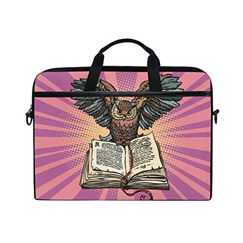 Ahomy 15-15,4 Zoll Laptoptasche, Eule auf Einem Alten Buch Canvas Stoff Laptop Tasche Bussiness Handtasche mit Schultergurt für Damen und Herren -