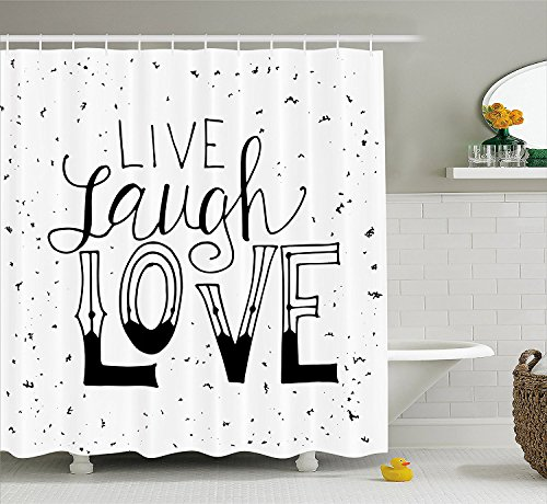 LZHsunni88 Live Laugh Love Decor Shower Curtain Quote Hand Drawn Typographical Artistic Design Positive Hipster