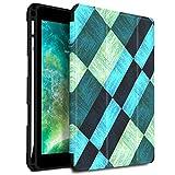Infiland iPad 9.7 Pouces 2018 Coque Porte-stylo protecteur, Smart Housse Étui Cover Case de Protection Ultra Fin avec Support et Mise en Veille Automatique Pour iPad 9.7 inch 2018, Carrés de Bleu&Vert