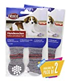 #4: Trixie Non-Slip Grey Dog Socks, S-M, 1 Pair Pack of 2