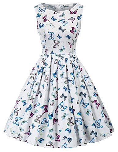 Robe 1950 's Style Audrey Hepburn Rockabilly Pin-up Robes Plissées Col Rond Imprime Flamingo Grande Taille XL CL992-4