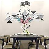 kuamai Nordic Modern Creative Design Geometrische Muster Hirschkopf Wand Sticker Blumen Dekor Vinyl Wohnzimmer Esszimmer Wand Aufkleber