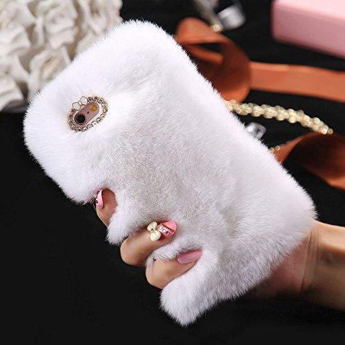 iPhone 8 Back Cover, elecfan Furry Case Luxury Women Girly Cute Bling Diamonds Bowknot Design Fluffy Soft Warm Case Protective Back Cover for Apple 4.7 Inch iPhone 8 (iPhone 8, Blau) Weiß