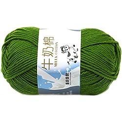 Suave Suave Leche de algodón natural de la mano de tejer lana de lana bola del hilado del bebé Craft-verde