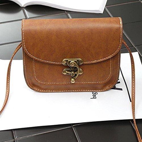 BZLine® Frauen Leder Handtasche Crossbody Umhängetasche Messenger Taschen Braun