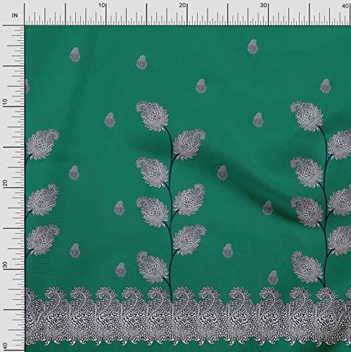 Soimoi Grun Baumwoll-Voile Stoff Paisley Platte gedruckt Craft Fabric 1 Meter 56 Zoll breit - Voile Paisley
