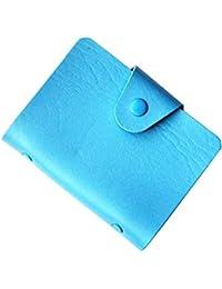 Porte-Cartes (visite, crédit, fidélité) Fermeture par Bouton Pression - Contenance : 24 cartes - Bleu