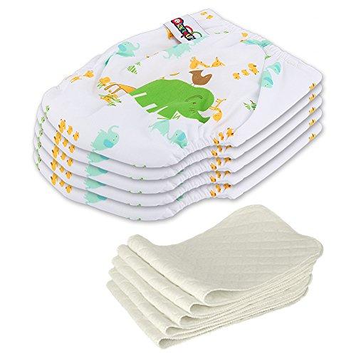 ndbare Waschbare Verstellbar Babywindeln Baby Windelhose Baby-Tuch-Windel Weicher Stoff Größe Verstellbar (Elefant) (Stoffwindeln)