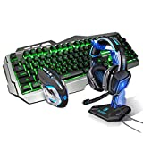 Zhengfangfang Mechanische Tastatur und Maus Set - Wired Metal Light dreiteilige Set - Makro-Programmierung Gaming Headset + Kopfhörer-Halter (kostenlose Maus-Pad) (Farbe : Green Light)