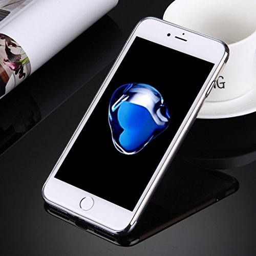 iPhone Case Cover Pour iPhone 7 Plus électrodéposition Soft TPU Housse de protection ( Color : Silver ) Silver