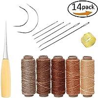 Yulakes 14 Stück Leder Handwerk Werkzeug Hand Nähen Nadeln Polsterung Teppich Leder Segeltuch DIY Nähzubehör mit 5 Stück 50M 150D Leder Nähen Wachsfaden (arbe 1)