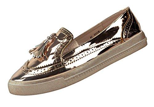 CAPRIUM Moderne Schuhe Espadrilles Sandalen Mokassin Fransen Halbschuhe, Damen 000M2001 (38, Rosegold M2005)